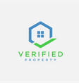 home estate with checkmark logo icon vector image