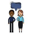 interracial couple with speech bubbles avatars vector image
