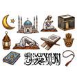 islamic religion holy symbols for ramadan kareem vector image vector image