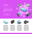 isometric gadgets icons landing page vector image vector image