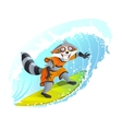 Joyful surfer raccoon Summer holidays at sea vector image