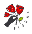 logo hand is holding a bouquet of flowers vector image