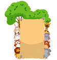 paper template with cute animals on both sides vector image vector image