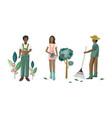 people doing gardening activities vector image vector image
