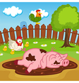 pig sleeping in puddle vector image