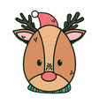 reindeer with hat and scarf merry christmas vector image vector image