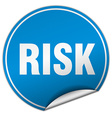 risk round blue sticker isolated on white vector image vector image