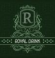 royal drink label design template patterned vector image vector image