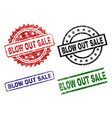 scratched textured blow out sale seal stamps vector image