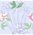 Seamless pattern with peonies and irises vector image vector image