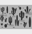 set of of cute cactus and succulents in pots vector image vector image