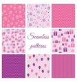 Set of seamless patterns for birthday vector image vector image
