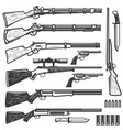 set vintage style weapon isolated on white vector image vector image