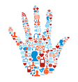 Social media hand concept vector image vector image