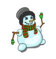 stock snowman in black hat vector image vector image