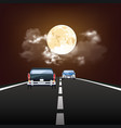 stunning moon over road vector image vector image