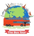 The Bus Tour of Europe and popular familiar vector image