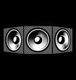 three speakers carbon fiber background vector image