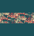 vintage seamless pattern with coral reef fish vector image