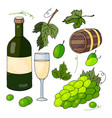 white wine a bunch of grapes and grape leaves vector image vector image