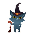 witch cat on a white background wearing a wizard vector image