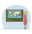 woman teacher with blonded short hair on classroom vector image vector image