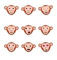 Emotions faces monkeys nine set icons vector image
