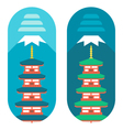 Flat design Chureito pagoda vector image