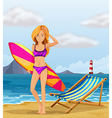 A girl at the beach with a colourful surfing board vector image vector image