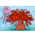 anemone and jellyfish cartoon vector image vector image