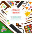 billiard game equipment banner card vector image vector image