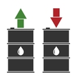black oil barrel with red and green arrows on vector image vector image