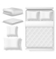 blank white realistic bedding top view bed with vector image