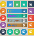 Bus icon sign Set of twenty colored flat round vector image