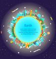 cartoon earth globe and building vector image