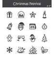 christmas festival icon set 1 vector image vector image