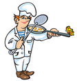 Cook with pan and colander vector image vector image