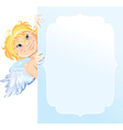 Cute angel peeking round from behind frame vector image