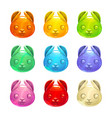 cute jelly bunny faces vector image
