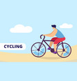 cycling sport young man riding bicycle outdoors vector image
