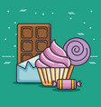 delicious and colorful sweets design vector image vector image