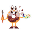donut holding paintbrush on white background vector image vector image