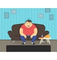 fat man sitting at home on sofa playing video vector image vector image