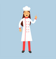 female chef cook character in uniform showing hand vector image vector image