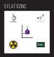 flat icon science set of scope irradiation flask vector image vector image