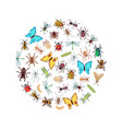 flat insects icons round concept vector image vector image