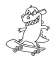 funny dinosaur in a cap skates on a skateboard vector image