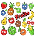 Funny Fruits Emoticons Badges Patches Stickers vector image vector image