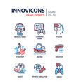 game genres - line design icons set vector image vector image