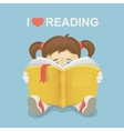 Girl kid reading a book I love reading vector image vector image